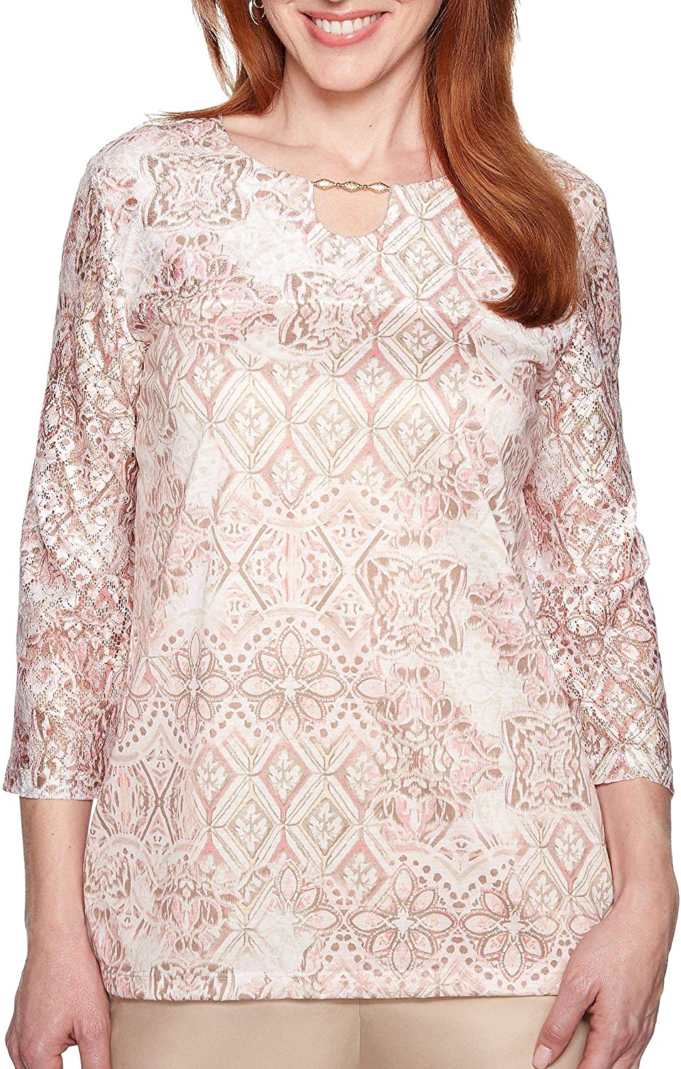 Alfred Dunner Plus Society Page Medallion Lace Keyhole Top