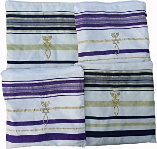 "Jerusalem Four(4) Purple-2 + Black-2 Messianic New Covenant Prayer Shawls Tallits 72""x22"" in Matching Bags"