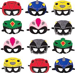 Haooryx 12Pcs Power Hero Theme Party Masks, Dress Up Costumes Party Decor Supplies US Rangers Ninja Steel Halloween Preten...