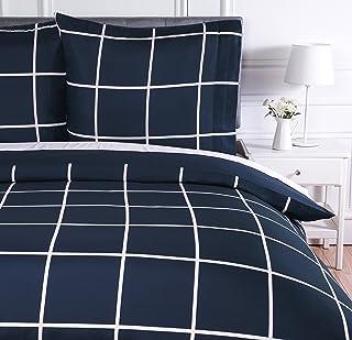 Amazon Basics Parure de lit avec housse de couette en microfibre, 140 x 200 cm, Motif écossais bleu marine