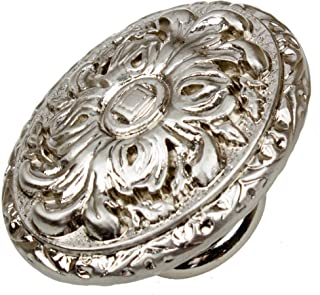 GlideRite Hardware 5710-SN-10 2 inch Old World Ornate Satin Nickel Oval Cabinet Knobs 10 Pack, Finish