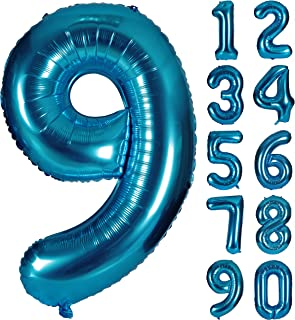 CHANGZHONG 40 Inch Blue Numbers 0-9 Birthday Party Decorations Helium Foil Mylar Number Balloon Digital 9