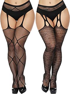 40ea2953c TGD Womens Plus Size Stockings Suspender Pantyhose Fishnet Tights Black  Thigh High Stocking 2 Pairs