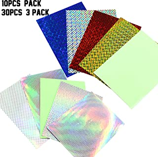 AGOOL 10/30pcs Fishing Lure Sticker Holographic Adhesive DIY Crafts Film Flash Lure Tape for Lure Making Tying Materail Metal Hard Baits Luminous Sticker Mixed Color with Tackle