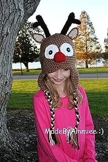 Crochet Rudolph Red Nosed Reindeer Earflap Beanie with Braids ,Christmas Reindeer Hat, Baby, Toddler, Kids