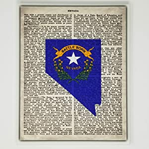 Nevada Flag Canvas Wall Decor - 8x10 Decorative NV State Map Silhouette Encyclopedia Art Print - Ready To Hang - Home State Love Handmade Gifts - NEV Decorations