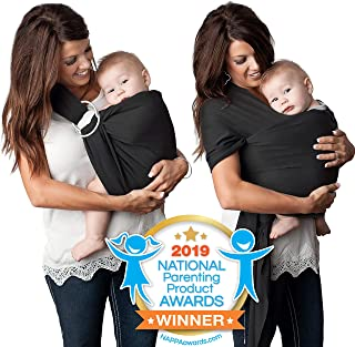 4 in 1 Baby Carrier Wrap and Baby Sling by Kids N` Such | Black Cotton | Use as a Postpartum Belt and Nursing Cover with Free Carrying Pouch | Best Baby Shower Gift for Boys or Girls