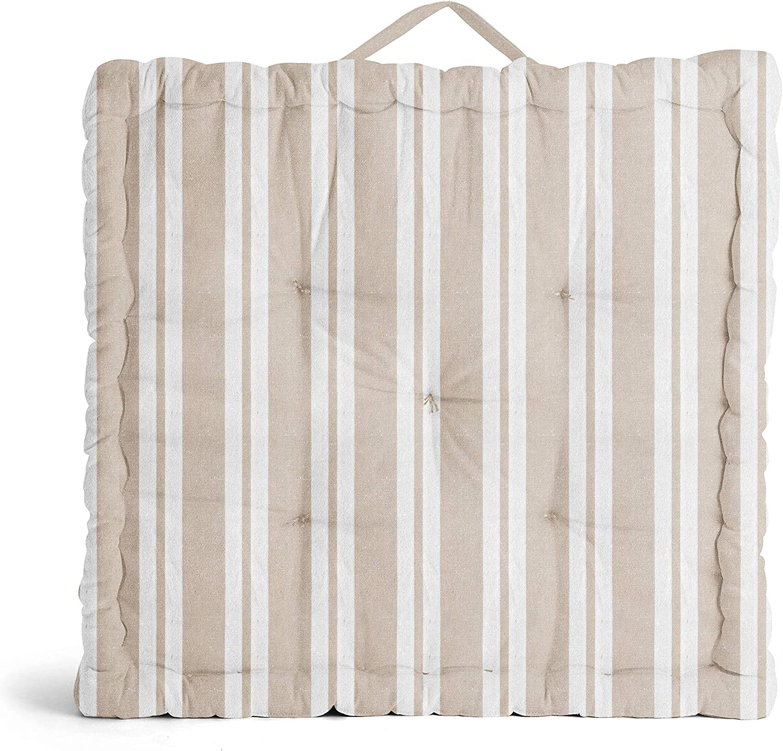 Encasa Homes Floor Regular dealer Bargain sale Pillow - Franca Stripes x 20 4 Beige