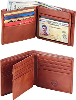 Leather Bifold Wallet for Men With ID Window and RFID Blocking