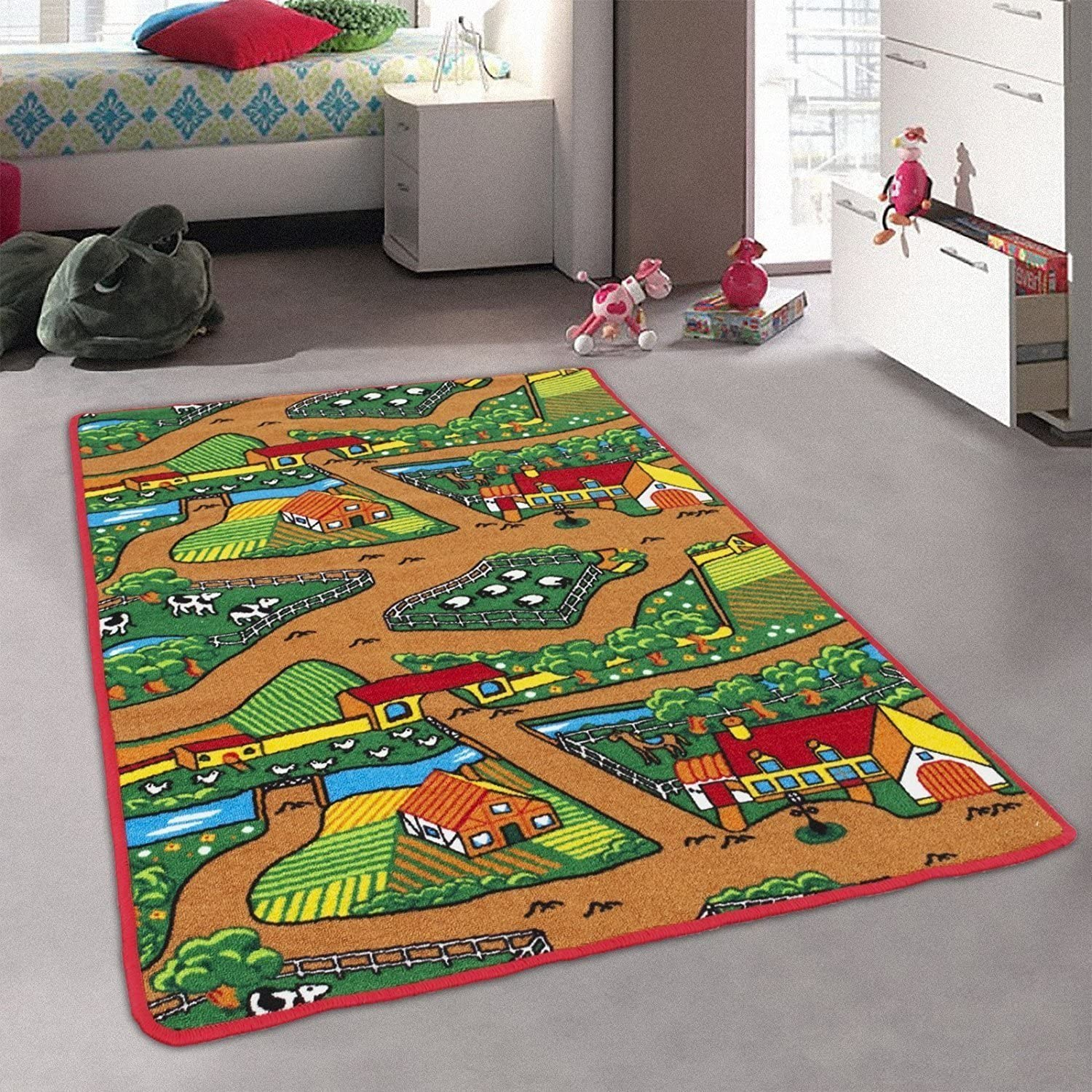 Amazon Com Champion Rugs Kids Baby Room Area Rug Farm Farmer Landscape With Bright Colorful Vibrant Colors 5 Feet X 7 Feet Toys Games