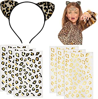 Tuoyi 6pcs Gold and Black Golden Leopard Cheetah Print Temporary Tattoo Stickers and Cat Ears Headband, Festival Costume H...