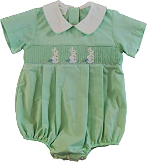 Edgehill Baby Boy Bubble Suit, Mint Green Smocked with White Bunnies