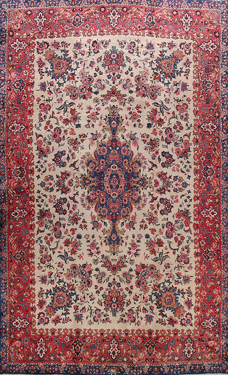 Floral Virginia Beach Mall Kashmar Oriental Area Max 81% OFF Rug Room Hand-Knotted Living C Wool