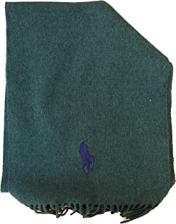 Men's Lambs Wool Solid Color Scarf by Polo Ralph Lauren, Made In Italy (Grey)