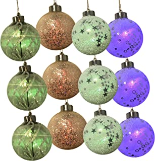 BRC Holiday 12 Pack Lighted Color Changing Assorted Hanging Christmas Ball Ornaments