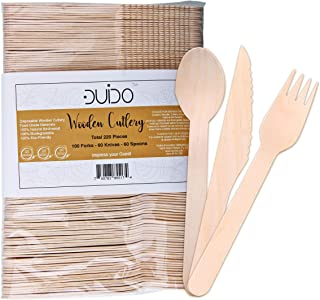 Biodegradable Disposable Wooden Cutlery Utensils – (Pack of 220) 100 Forks 60 Knives 60 Spoons, 5.5-inch Eco-Friendly Compostable Silverware Kit Party Supplies Set Events Better Than Bamboo Palm Leaf