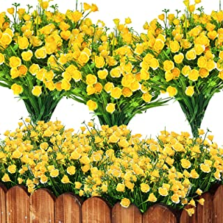 Artificial Flowers for Outdoor UV Resistant Bundles 8- Home Decor Porch Yellow Roses Flowers Artificial for Decoration Fau...