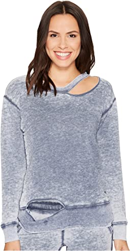Allen Allen - Crew Neck Top with Cut Neck and Hem