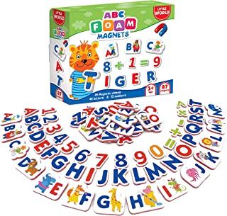 Little World 87 Foam ABC Magnets and Alphabet for Toddlers, Including Large 26 Magnetic Animals, 61 Letters & Numbers for Kids Age 3+. Best Educational Set for Children's Learning