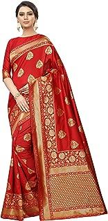 Red Bridal Banarsi Print Saree Indian/Pakistani Traditional Bollywood Ethnic Golden Border Sari with Unstitch Blouse