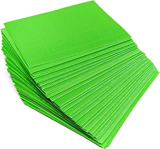 Bright Creations 48 Pack Corrugated Cardboard Sheets - Metallic Corrugated Paper Green 8.5 x 11 inches