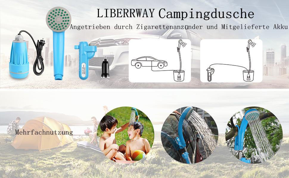91MSeLTBeQL LIBERRWAY Campingdusche Akku Camping Dusche Outdoor Heiße/Kühle Dusche Mit 3 Jahren Garantie wiederaufladbarer Akku und…
