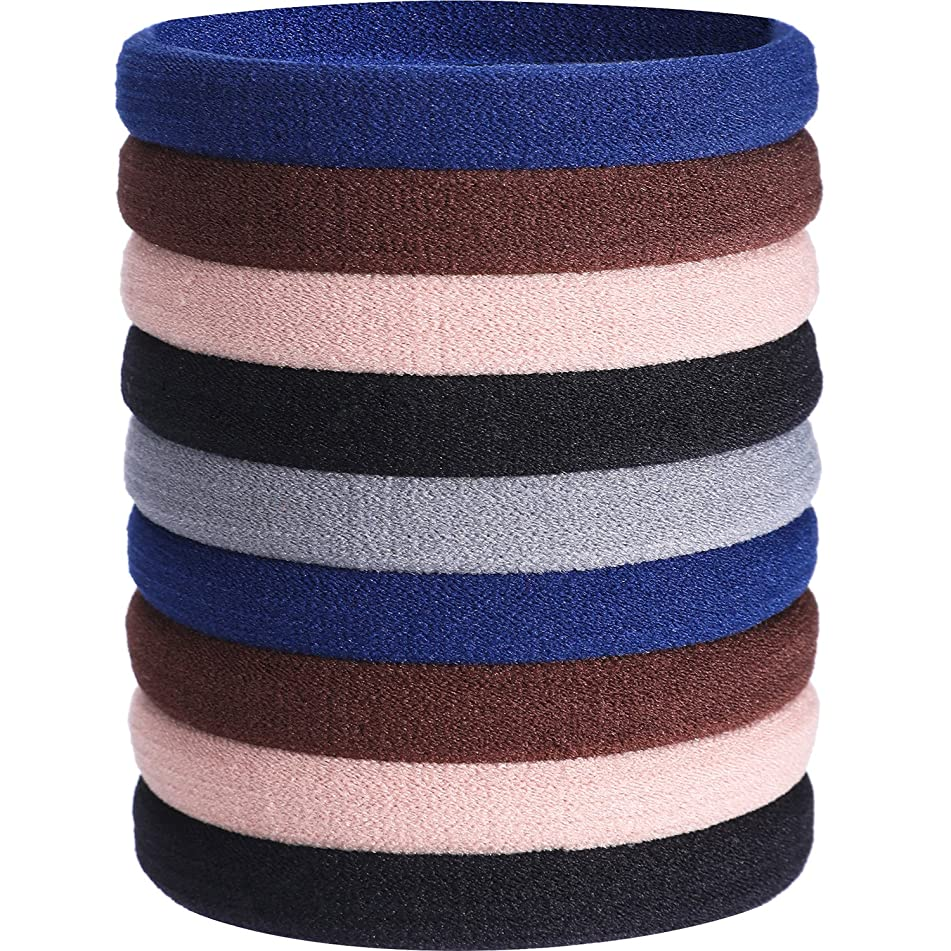 eBoot 20 Pieces Large Cotton Stretch Hair Ties Bands Rope Ponytail Holders Headband for Thick Heavy and Curly Hair (Multicolor B)