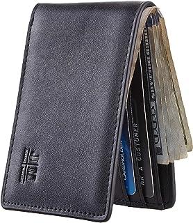 Mens Slim Minimalist Front Pocket Wallet Genuine Leather ID Window Card Case RFID Blocking (Black Dark)