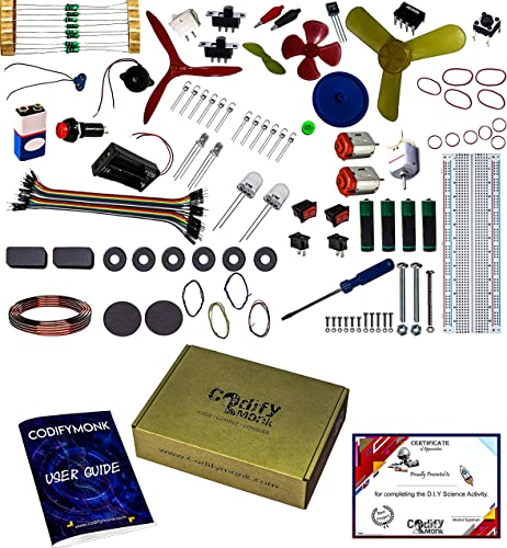 CodifyMonk Beginner s Kit Learn As You Build 125 Items in a Kit Along with Instruction Cum Project More Than 100 Manual Advanced Project Using 555IC Bread Board