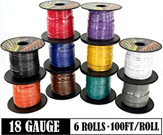 GS Power 18 Gauge Ga, 10 Rolls of 100 Feet (Total of 1000 ft) Car Audio Video Primary Remote Turn on Hook up Trailer Wire (Cable Set Color: Black Red Blue Green Brown Orange Grey Purple White Yellow)