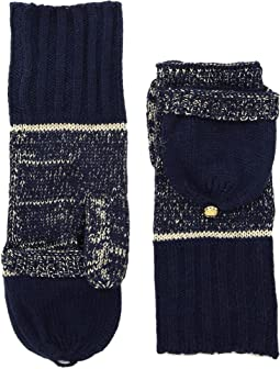 MICHAEL Michael Kors - Marl Metallic Striped Convertible Mittens