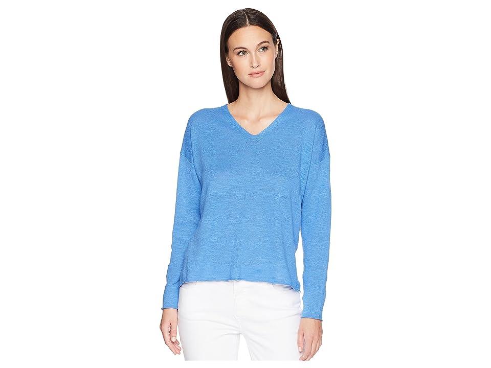 Eileen Fisher V-Neck Box-Top (Blue Bell) Women