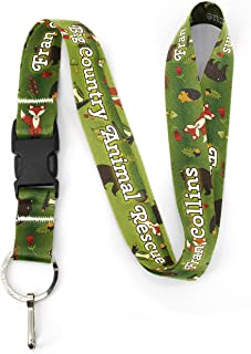 Buttonsmith Woodland Creatures Custom Lanyard - Customize with Your Text - Buckle and Flat Ring - Made in The USA