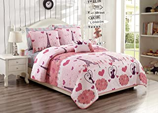 Linen Plus Twin/Twin Extra Long 3pc Bedspread Set for Girls/Teens Paris Eiffel Tower Hearts Pink Deep Purple New