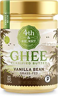Vanilla Bean Grass-Fed Ghee Butter by 4th & Heart, 9 Ounce, Pasture Raised, Non-GMO, Lactose Free, Certified Paleo and Keto