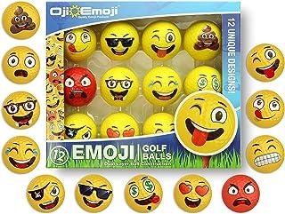 Oji-Emoji Premium Emoji Golf Balls, Unique Professional Practice Golf Balls, 12-Pack Emoji Golfer Novelty Golf Gift for Al...