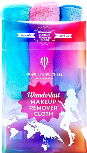 RAINBOW ROVERS Set of 3 Makeup Remover Cloths | Reusable & Ultra-fine Makeup Towels | Suitable for All Skin Types | R...