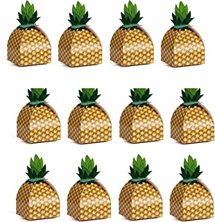 Astra Gourmet Pineapple Favor Boxes - 24 Pack 3D Large Pineapple Gift Boxes Tropical Hawaiian Luau BBQ Summer Beach Pool Fruit Party Decorations