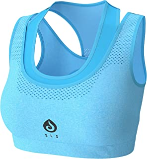 Sports Bra for Women Yoga Workout Gym Run Padded Racerback Sport Bras - Headband (Blue, Large)