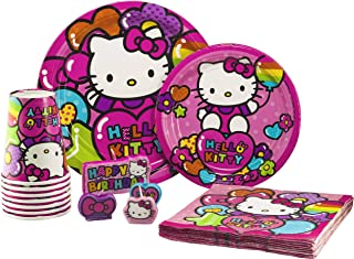 Hello Kitty Tableware Pack! Disposable Paper Plates, Napkins, Cups and Candles (Set for 16)