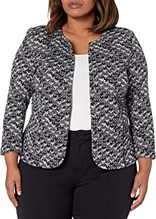 ANNE KLEIN Women's Plus Knit Jacquard Open Front Jacket, zinc/Anne Black