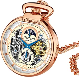 Stuhrling Orignal Mens Pocket Watch Automatic Watch Skeleton Watches for Men - Self Winding Pocket Watch - Mechanical Watch with and Stainless Steel Chain -Dual Time AM/PM Sun Moon Subdial