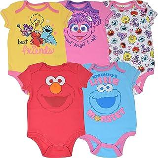 Sesame Street Baby Girls 5 Pack Bodysuits: Big Bird Abby Elmo Cookie Monster