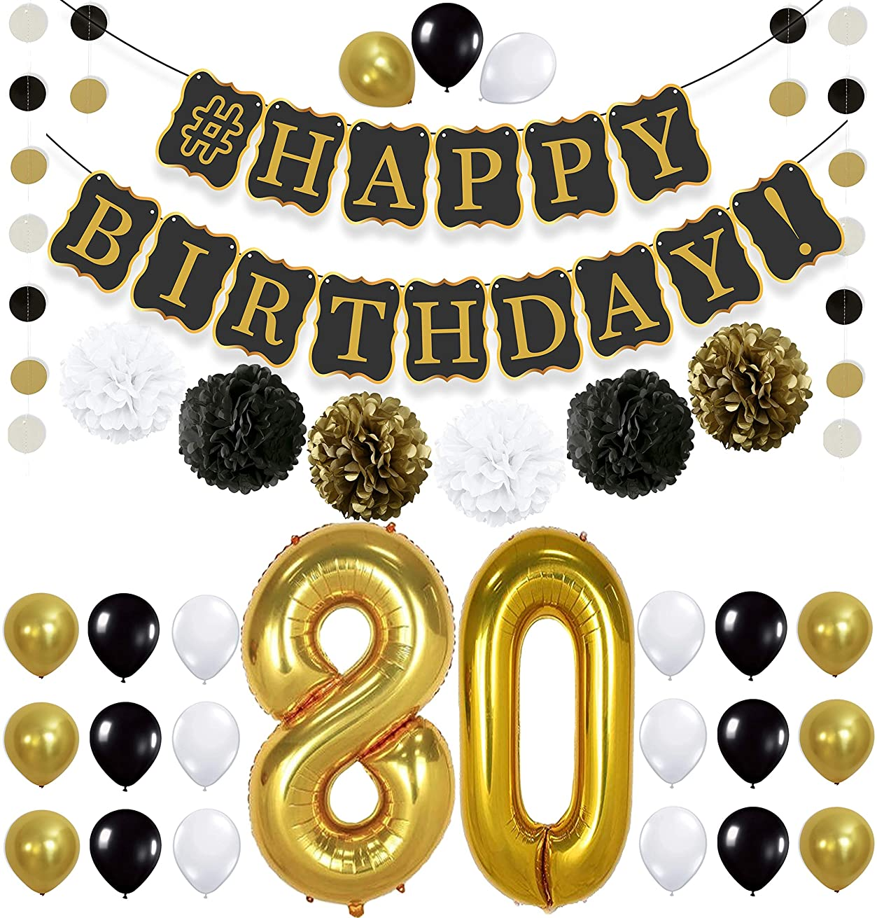 Black 80th BIRTHDAY DECORATIONS PARTY KIT - Black Gold and White PomPoms | Latex Balloons | Gold Number 80 Ballon | 80th Birthday Party Decorations | Great 80 Year Old Party Supplies