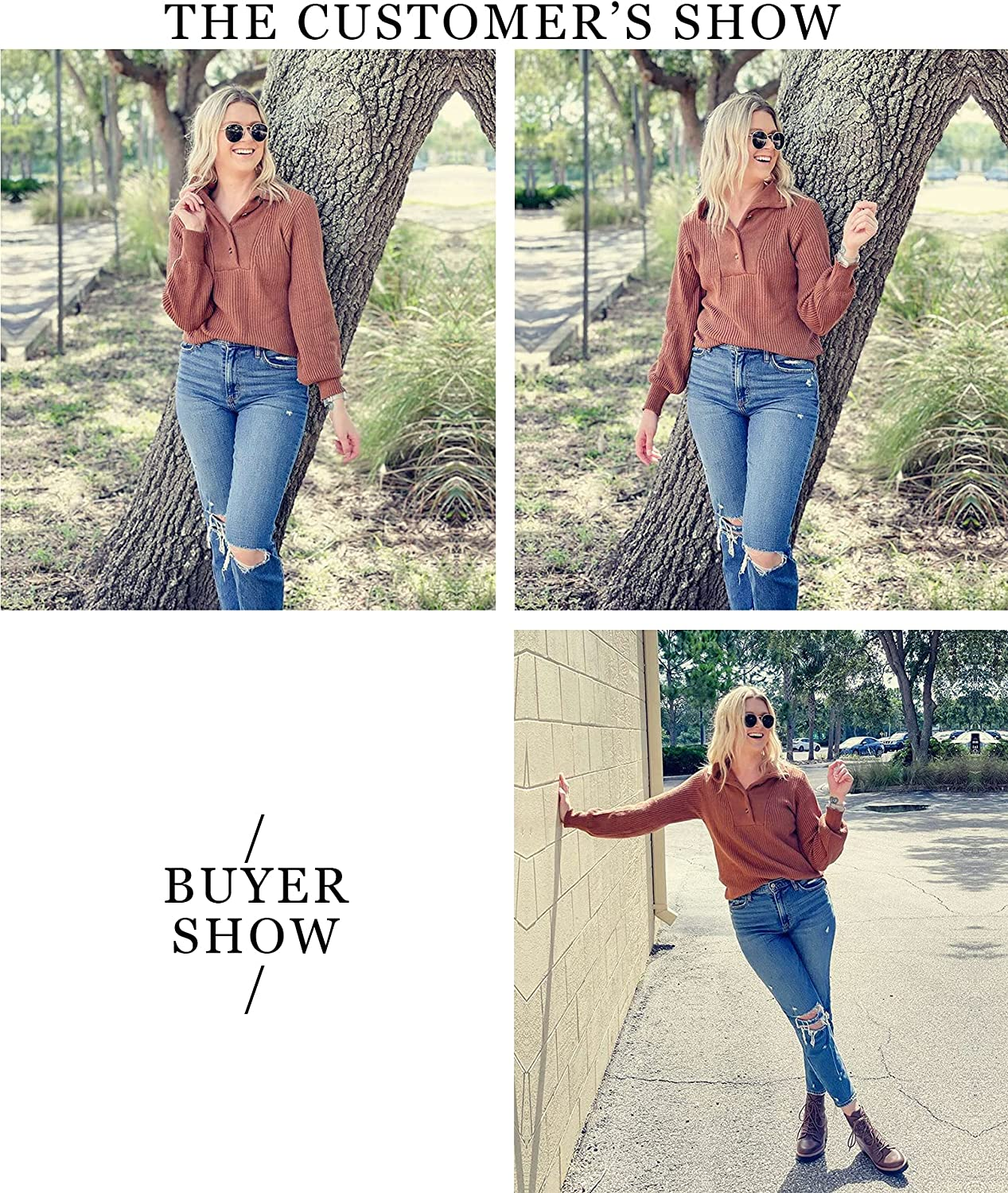 BTFBM Women Casual Button Up Turtleneck Sweaters Long Sleeve Knitted Solid Color Soft Loose Fall Winter Pullover Sweater