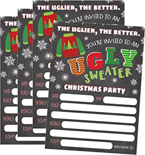 25 Ugly Sweater Party Holiday Invitations, Winter Christmas Invite Snowflake Kids or Adult Birthday Invitation, Bachelorette or Housewarming Invites
