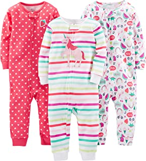 Baby and Toddler Girls' 3-Pack Snug Fit Footless Cotton Pajamas