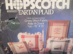 "Hopscotch Tartan Plaid Hunter Green and Ivory 1 pc. 15"" x 15"" Cross Stitch Fabric Aida 14 Count"