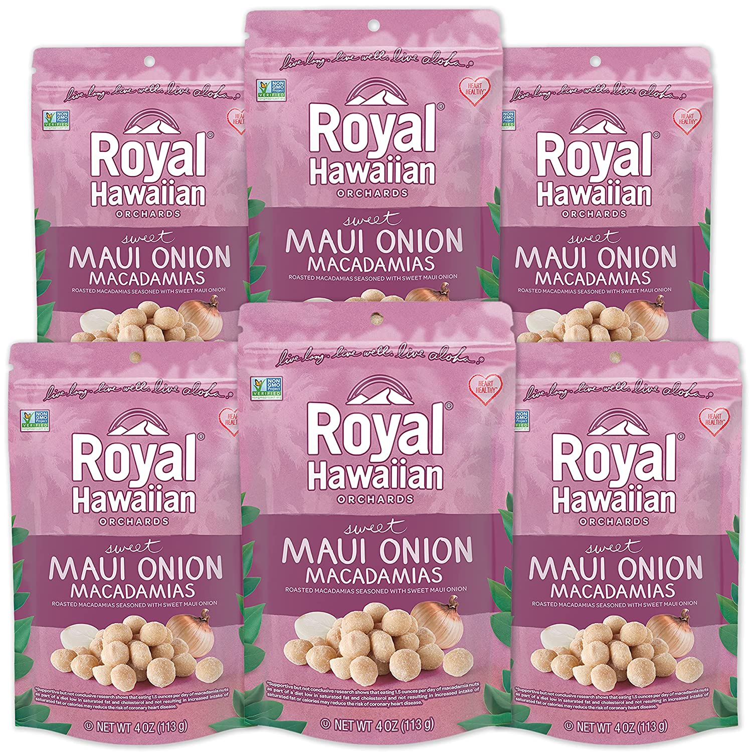 Royal Hawaiian Orchards Cheap bargain Maui Onion Macadamia Safety and trust 4 Oz Pack Nuts 6