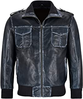 Men's Bomber Leather Jacket Navy Vintage Washed Lambskin Classic Pilot Aviator Harrington 1423